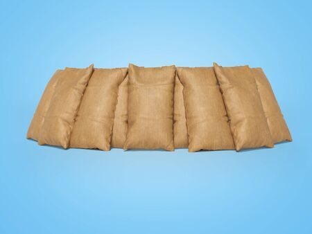 3d rendering of group full bag on blue background with shadow