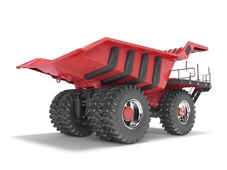 Mining truck red rear view 3D rendering on white background with shadow