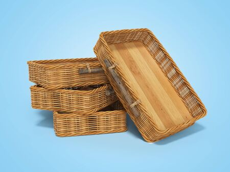 3d rendering of group of wicker wooden baskets on blue background with shadow Stock Photo