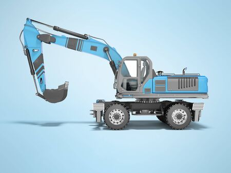 3D rendering of blue hydraulic wheel excavator on blue background with shadow