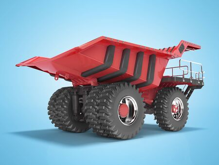 Mining truck red rear view 3D rendering on blue background with shadow