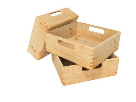 3d rendering of group of wooden boxes for transporting goods on white background no shadow