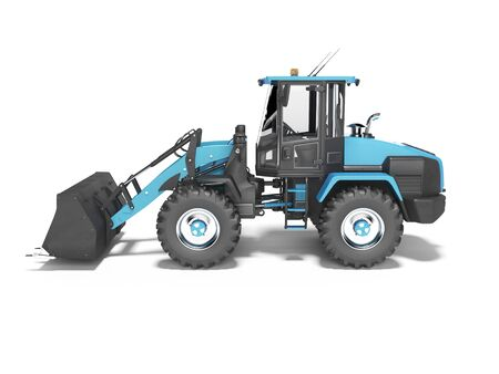 Blue large road frontal loader side view 3D rendering on white background with shadow