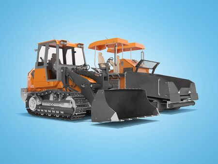 Road machinery orange paver and with tracked bulldozer tractor 3D rendering on blue background with shadow