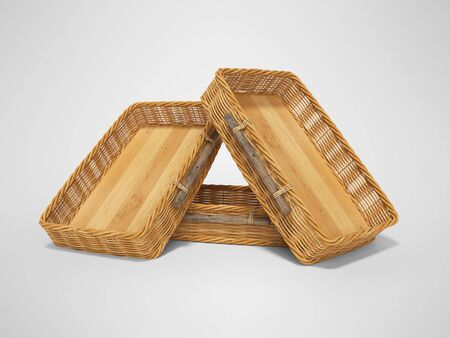 3d rendering of group wicker wooden boxes for transporting fruits on gray background with shadow Stock Photo