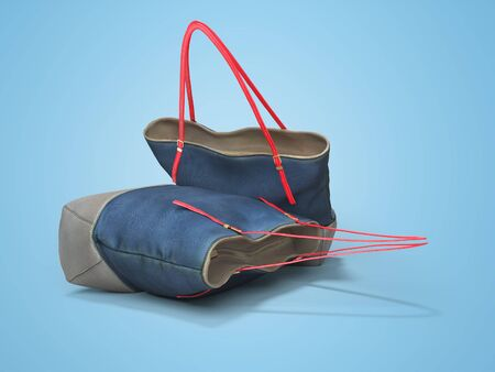 3D rendering two beach bags with long handles isolated on blue background with shadow