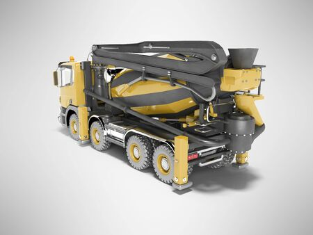 Yellow truck mixer with pump for concrete with conveyor belt isolated 3D rendering on gray background with shadow