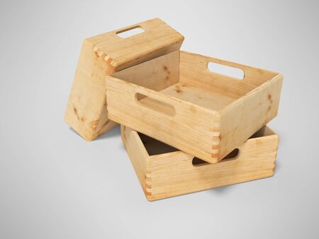 3d rendering of group of wooden boxes for transporting goods on gray background with shadow