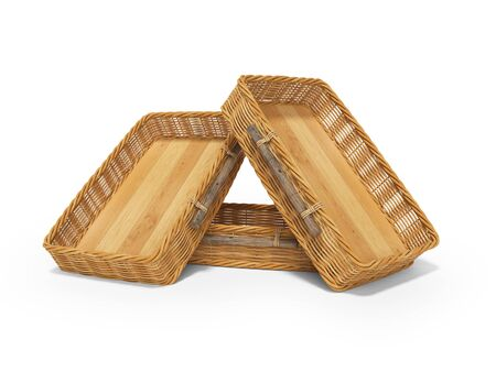 3d rendering of group wicker wooden boxes for transporting fruits on white background with shadow Stock Photo