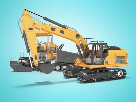 Group of orange road construction machinery crawler bulldozer and tracked paver 3D rendering on blue background with shadow