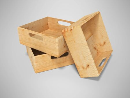 3d rendering of group of wooden boxes for transporting goods over long distances isolated on gray background with shadow Stock Photo