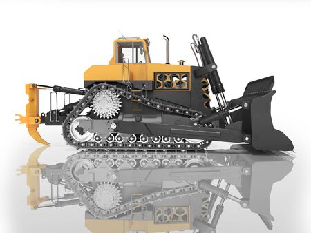 Career technology bulldozer orange side view 3D rendering on white background with shadow