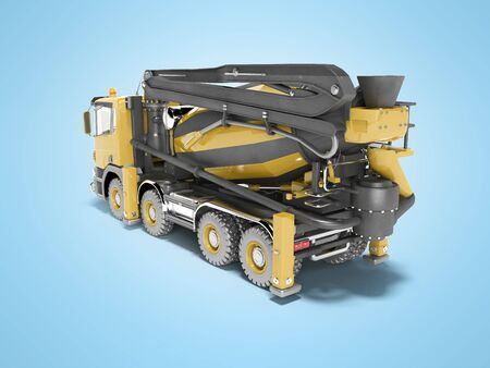 Yellow truck mixer with pump for concrete with conveyor belt isolated 3D rendering on blue background with shadow Stock Photo