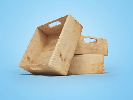 3d rendering of group of wooden crates for transporting goods over long distances on blue background with shadow