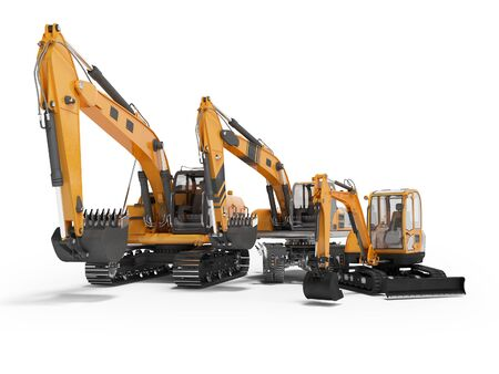 Group of orange excavator 3D rendering on white background with shadow Imagens