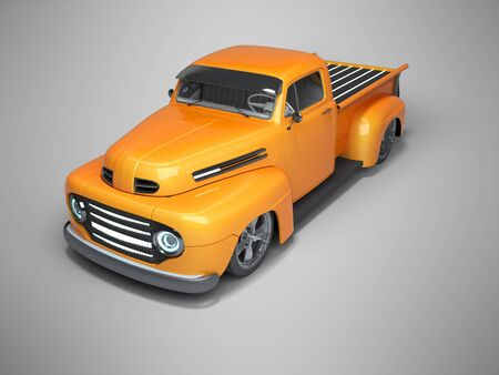 3D rendering orange electric car perspective view on gray background with shadow