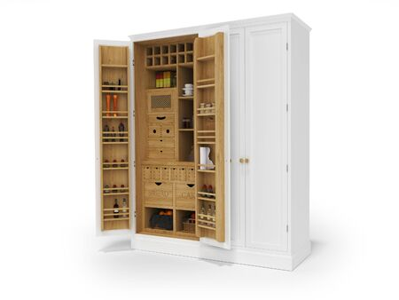 3D rendering wooden organizer kitchen cabinet on white background with shadow