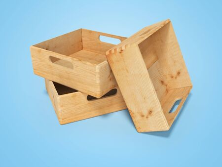 3d rendering of group of wooden boxes for transporting goods over long distances isolated on blue background with shadow Stock Photo