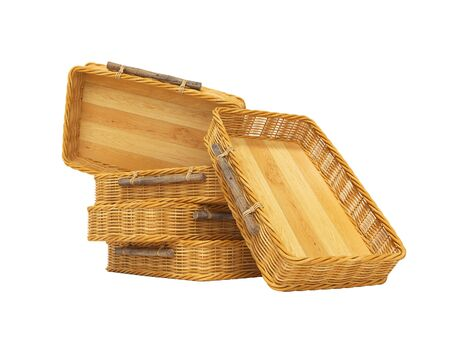 3d rendering of group wicker wooden boxes on white background no shadow