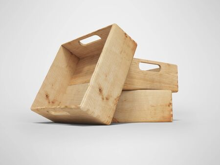3d rendering of group of wooden crates for transporting goods over long distances on gray background with shadow