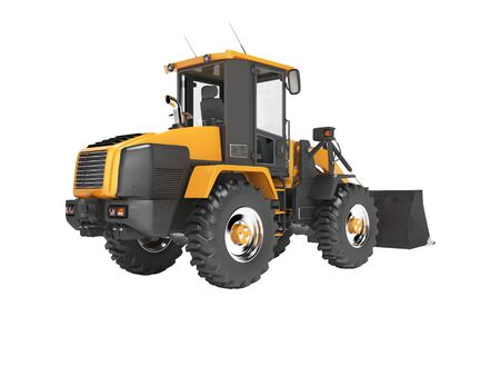 Orange road frontal loader 3D rendering on white background no shadow Stock Photo