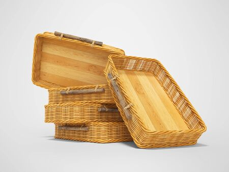 3d rendering of group wicker wooden boxes on gray background with shadow Stock Photo