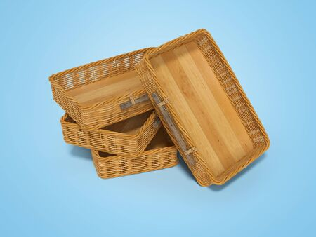 3d rendering of group wicker wooden boxes perspective on blue background with shadow