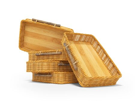 3d rendering of group wicker wooden boxes on white background with shadow Stock Photo