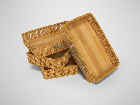 3d rendering of group wicker wooden boxes perspective on gray background with shadow