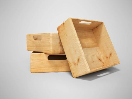 3d rendering set of wooden deep box for transporting goods over long distances isolated on gray background with shadow Stock Photo