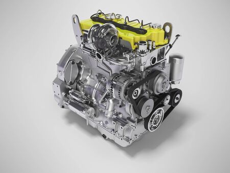 3D rendering yellow diesel engine for car perspective on gray background with shadow