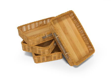 3d rendering of group wicker wooden boxes perspective on white background with shadow