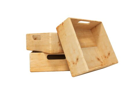 3d rendering set of wooden deep box for transporting goods over long distances isolated on white background no shadow