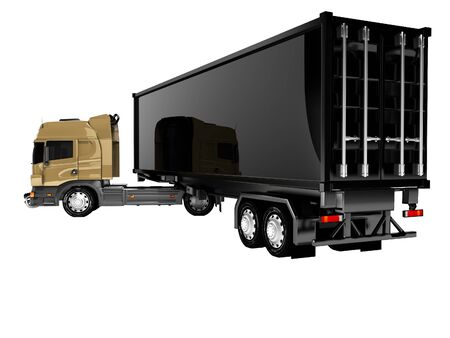 3D rendering of tractor unit with black trailer rear view on white background no shadow Stok Fotoğraf