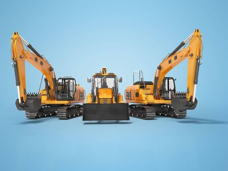 3D rendering orange construction machinery multifunction tractor and crawler excavator on blue background with shadow