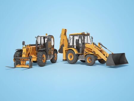 3D rendering orange construction machinery multifunction tractor and telescopic excavator on blue background with shadow Reklamní fotografie