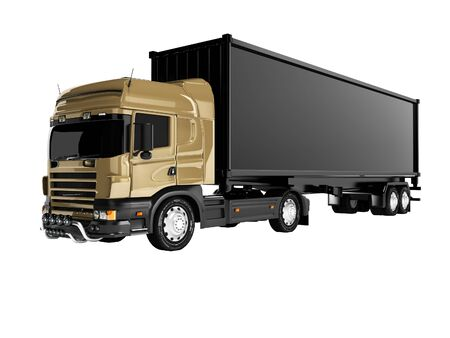 3d rendering truck tractor with black trailer on white background no shadow