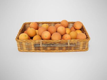 3D rendering wicker wooden basket with oranges on gray background with shadow
