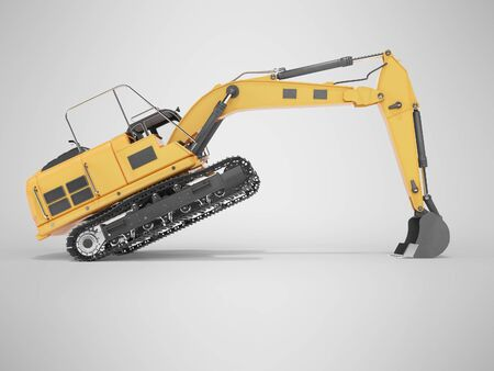 3d rendering concept work orange crawler excavator right side view on gray background with shadow