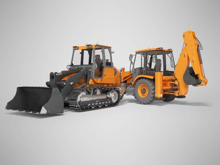 3d rendering orange road equipment loader excavator and crawler excavator on gray background with shadow