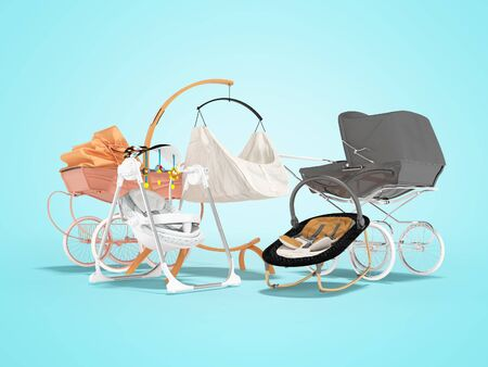 3D rendering of concept baby rocking chair bed rocking chair for sleeping and stroller for child on blue background with shadow