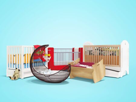 3d rendering of group bed for sleeping baby on blue background with shadow 版權商用圖片