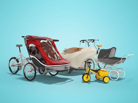 3d rendering group of transport for children and parents bike stroller on blue background with shadow