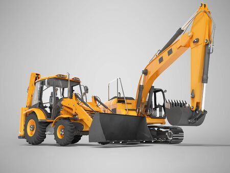 3d rendering orange construction machinery tractor and excavator on gray background with shadow