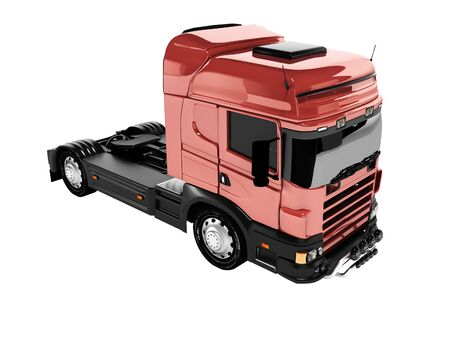 3d rendering red truck tractor on white background no shadow