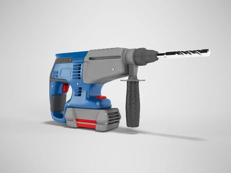 3d rendering of blue electric drill with gray accents isolated on gray background with shadow
