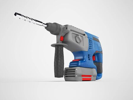 3d rendering of blue electric drill with gray accents on gray background with shadow