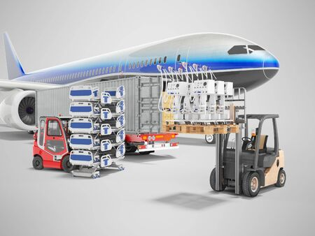 3d rendering concept of transporting medical goods from an airplane and artificial ventilation apparatus for the lungs on gray background with shadow 版權商用圖片