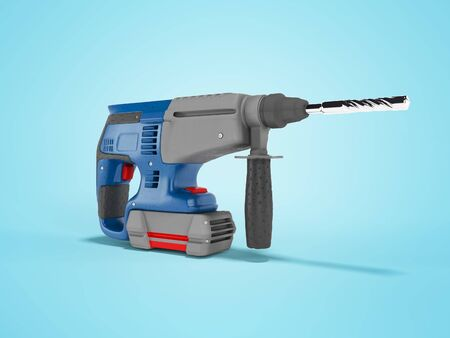 3d rendering of blue electric drill with gray accents isolated on blue background with shadow Reklamní fotografie