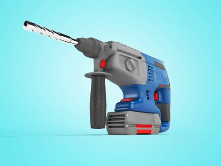 3d rendering of blue electric drill with gray accents on blue background with shadow
